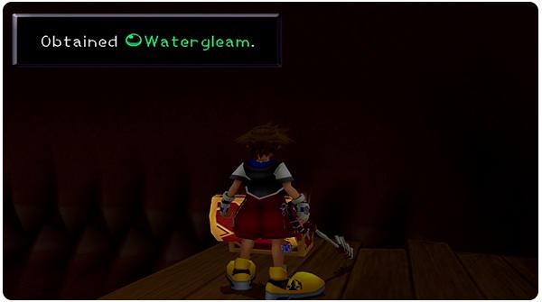 Kingdom Hearts Monstro - Sora finds the Watergleam in a Treasure Chest