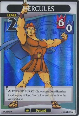 #104 hercules lv2 super rare friend khtcg card