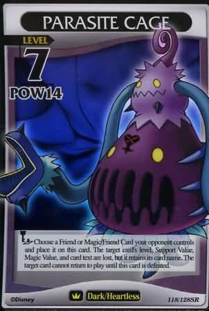 #118 parasite cage lv7 heartless super rare khtcg card
